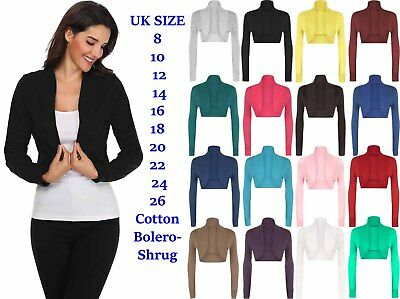 Ladies Cotton Long Sleeve Cropped Boleros Shrugs Womens Cardigans Jumpers Top