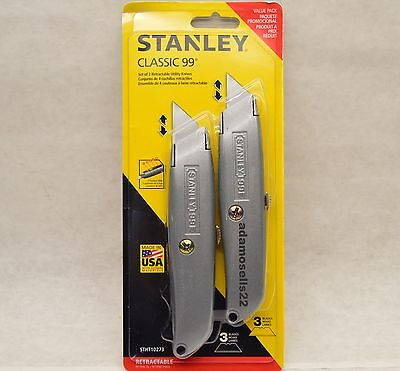 Stanley 2 Pack Classic 99 Retractable Utility Knife Tool & 6 Replacement Blades