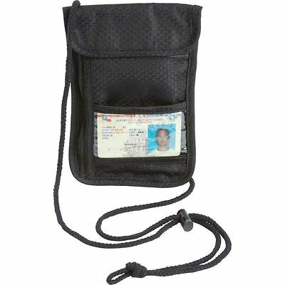 Black Travel Passport Security Neck Wallet, Transparent Window ID Card Pouch Bag