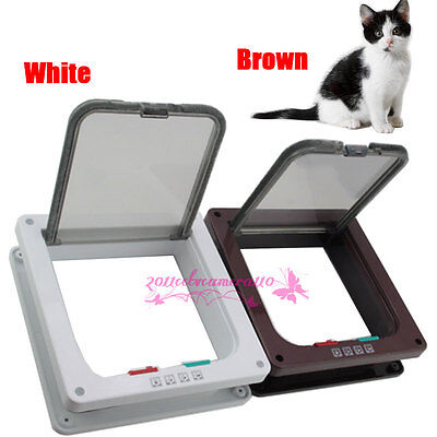 White Brown Frame 4 Way Locking Lockable Pet Cat Small Dog Flap Door S/M/L SIZE
