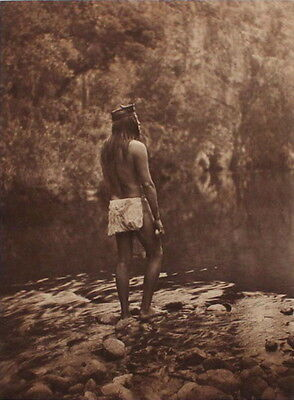 RARE - The Apache - Edward S Curtis - Large Format Photogravure from 1906 Photo