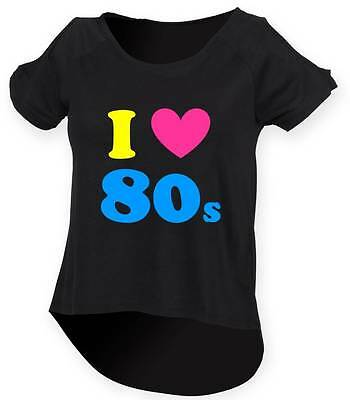 I LOVE THE 80s Ladies Drop Tail Top 8-18 Fancy Dress Costume Outfit Neon 80's