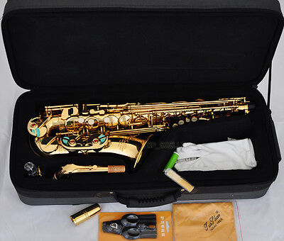 Professional TaiShan Gold Alto Saxophone sax High F Eb New Saxofon With Case