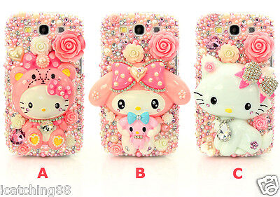 DIY Bling Pearl Crystal Rhinestone Hello Kitty Samsung Note 4 S5 Cover i6 5 Case