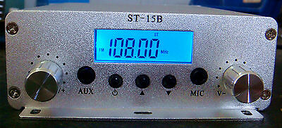 free shipping ST-15B 87-108MHz PLL stereo Fm transmitter broadcast 1.5W or 15W