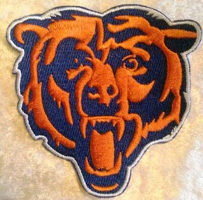 "Chicago Bears BIG Bear 3.5"" Iron On Embroidered Patch ~US Seller~FREE Ship!"
