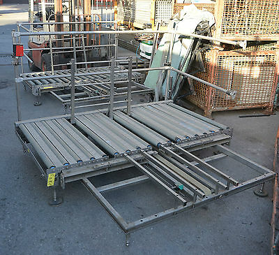 Stainless construction powered roller conveyor 750mm x 1850mm with transfer mech
