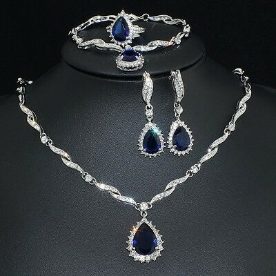 V48 Clear Crystal 18K WGP Alloy Blue CZ Earrings Bracelet Necklace Set Ring 8#