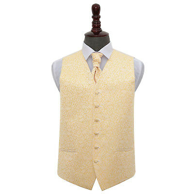 DQT Swirl Patterned Gold Mens Wedding Waistcoat & Cravat Set FREE Pin