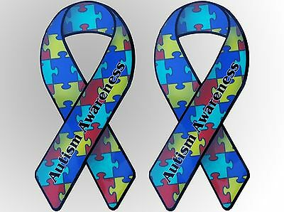 """2 Autism Awareness Support Ribbon Vinyl Stickers -8"""" x 4""""- Free US Shipping"""