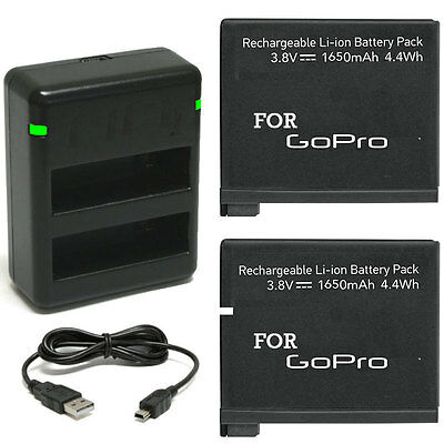2 Rechargeable Replacement Battery + Dual Charger For GoPro HERO4  Black Silver