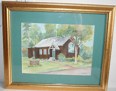 Old Watercolor Painting of NJ ST Helena Roman Catholic Church