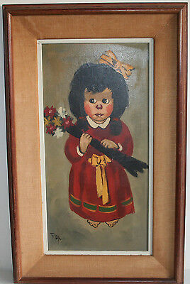 Antique American Folk Art Oil Painting Little Girl Holding Flower