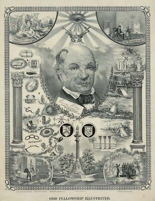 Antique HUGE Odd Fellows Illustrated Art print ring poster IOOF 12x18 IOOF