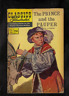 Classics Illustrated #29 G+  Hrn166 (Prince And The Pauper) Samuel L. Clemens
