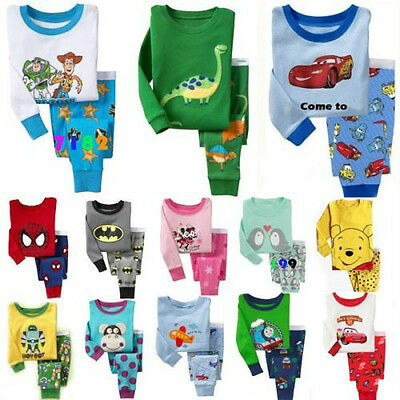 Lots of Cotton Sleepwear Pajama Sets for Baby Toddler Kids Boys Girls Size 1T~6T