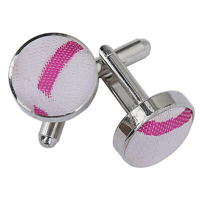 New Dqt Scroll Silver Plated Cufflinks - White & Hot Pink