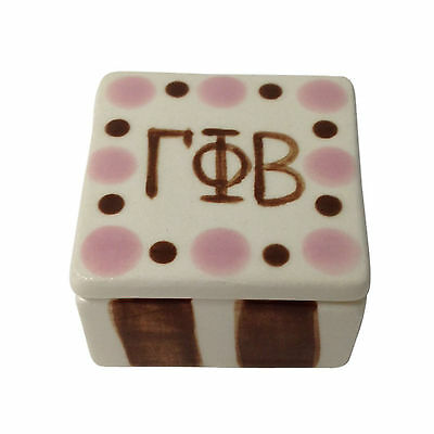 Gamma Phi Beta Ceramic Square Dot Pin Box