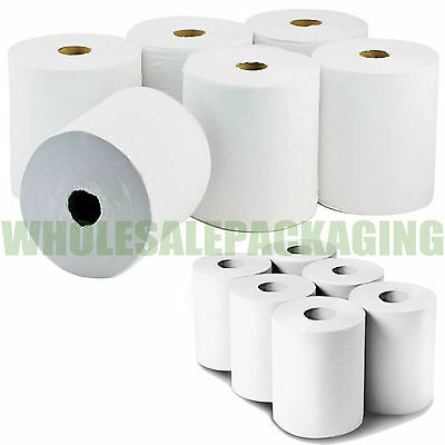 6 Pack 2 Ply White(Not Blue )Embossed Centre Feed Paper Wipe Rolls