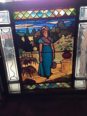 Sg 1 Antique Painted And Fired Signed And Dated 1888 Victorian Lady Window
