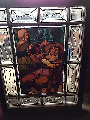 Sg 2 Antique Painted And Fired Figural Stainglass Window 1888