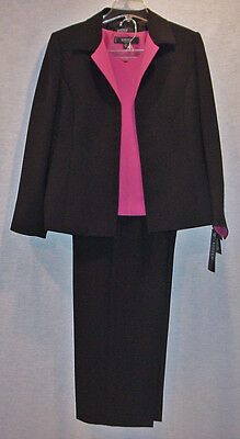 Gorgeous Kasper Ladies 3 Piece Black & Pink Lined Pant Suit Size 12 New With Tag