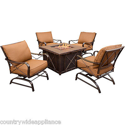 HANOVER Summer Night 5-Piece Outdoor Patio Set 4 rockers & Fire Pit SUMMRNGHT5PC