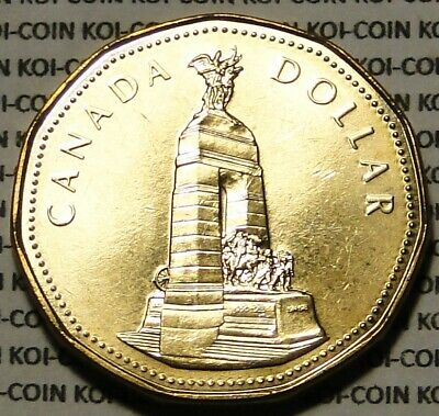 BU UNC brilliant uncirculated Canada 1994 War monument loonie $1 dollar coin