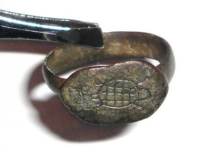Ancient Roman Empire, 1st - 3rd c. AD. Bronze Military Ring with Turtle