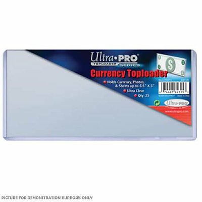 "Ultra-Pro 3"" x 6.5"" (165mm x 76mm) Currency Toploader 25 Pack - Ultra Clear"