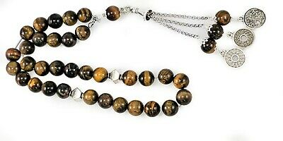 Tasbeeh Worry Beads Komboloi Tiger Eye 10mm Brushed Silver Fittings   _1671