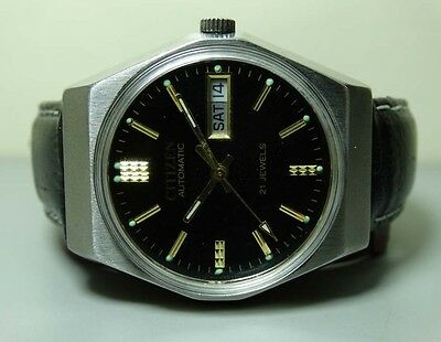 MENS VINTAGE CITIZEN AUTOMATIC DAY DATE WRIST WATCH 11100699 OLD USED G214