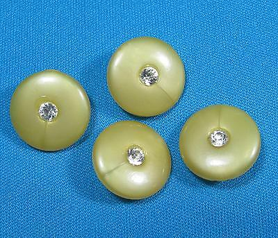 Vtg White Rhinestone Center Golden Yellow Small Size Button Lot of Four Buttons