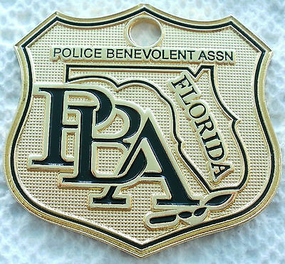FLORIDA LAW ENFORCEMENT PBA POLICE SUPPORTER CAR GOLD LICENSE PLATE TAG SHIELD