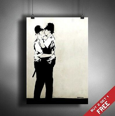 A3 BANKSY KISSING COPPERS POLICE POSTER Graffiti Street Wall Art Print Picture