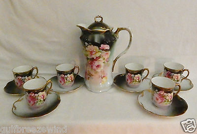 Antique Chocolate Pot  Set with 6 Cups & Saucers Made in Germany