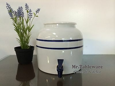 Water Crock Blue Stripe Porcelain Ceramic Water Dispenser with Tomlinson Faucet