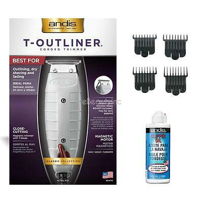 Andis T-Outliner Hair Trimmer with 4 Attachment Combs, Oil Set
