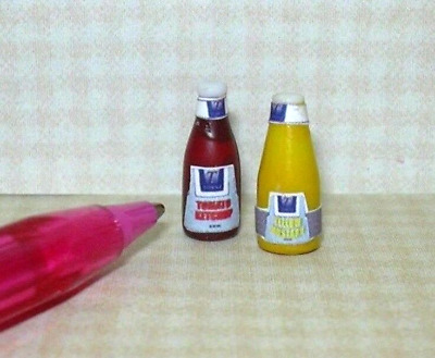 Miniature Farrow Generic Mustard/Ketchup Set for DOLLHOUSE, 1/12 Scale