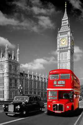 London, Enland - Poster / Print (Red Bus, London Taxi & Big Ben)