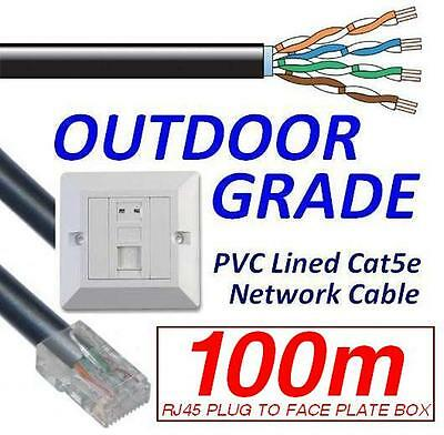 100m OUTDOOR EXTERNAL cat5e Network Ethernet Cable EXTENSION KIT Face Plate Box