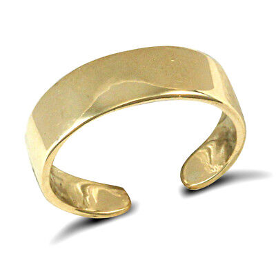 Jewelco London Ladies Solid 9ct Yellow Gold Flat Band Toe Ring