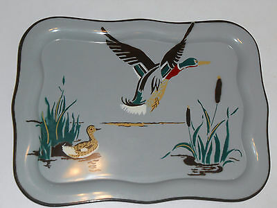 "XL 1930's Vtg MALLARD DUCK Serving ""Social Supper"" TRAY Exc! Cabin Lodge 22 x 16"