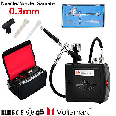 Voilamart Mini Compressor 0.3mm Air Brush Spray Gun Kit Carry Bag Airbrush Paint