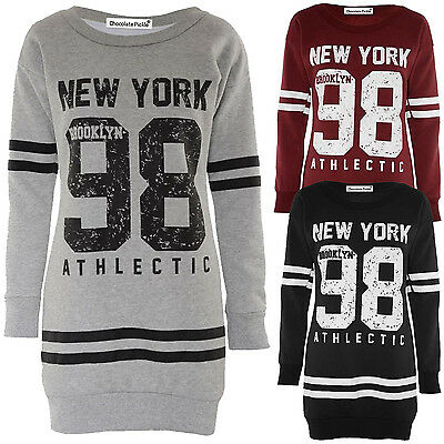 Womens Oversized Thermal Sweat Shirt 76 Brooklyn Full Sleeve Jumpers Tops 8-22