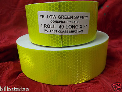 """YELLOW GREEN 40' X 2"""" ROLL REFLECTIVE CONSPICUITY TAPE SAFETY FAST FREE SHIPPING"""