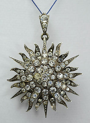 Antique Victorian Solid Silver & Paste STARBURST Pendant & Brooch -- French?