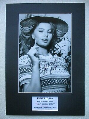 Sophia Loren Actress Genuine Authentic Hand Signed A3 Mounted Photo Display- Coa