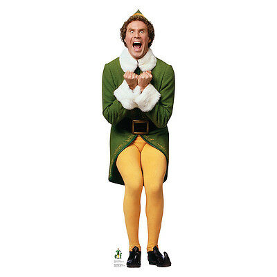 BUDDY Excited Elf Will Ferrell Lifesize CARDBOARD CUTOUT Standup Standee Poster
