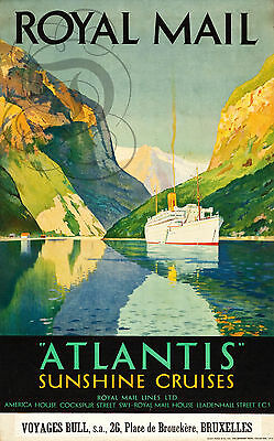 Repro Deco Affiche Royal Mail Atlantis Sunshine Cruises  Papier 190 Ou 310 Grs